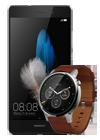 Huawei P8 Lite negro + Motorola Moto 360 (Gen 2) hombre marrón