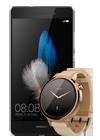 Huawei P8 Lite negro + Motorola Moto 360 (Gen 2) mujer dorado